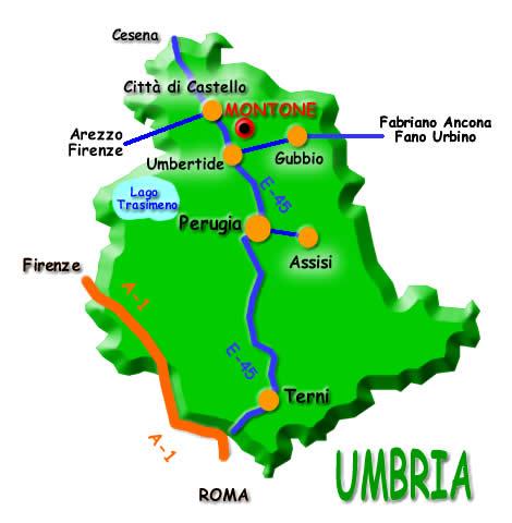 Umbria Cartina Comuni.Dove Siamo Come Arrivare A Montone Perugia Umbria